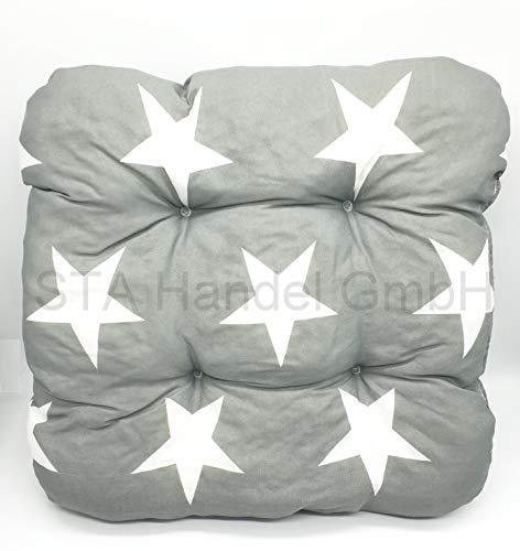 Vanorell 2 x Sitzkissen Gartenmöbel Polsterauflage Grau/Weiß Sterne Kissenhüllen Bezüge Sitzauflage Polsterbezug Bezug Gartenmöbel Kissenbezug