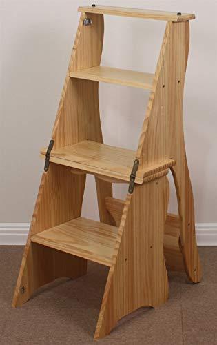 4 pasos plegable escalera de escalera de madera, casa interior de la escalera de la escalera de la escalera, cocina de madera Silla de paso para niños Silla plegable, soporte de flores portátil/banc