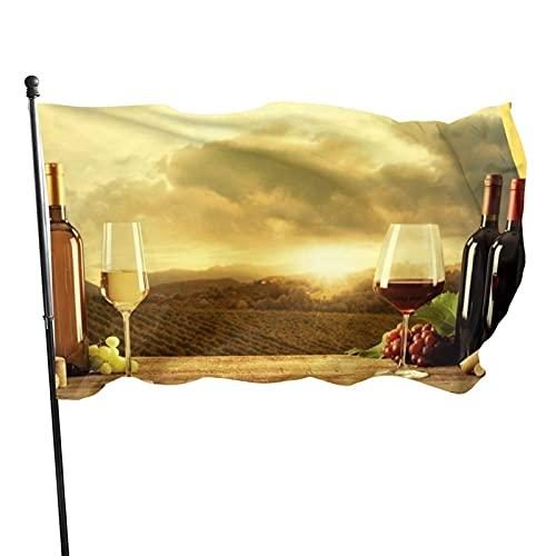 GOSMAO Bandera de jardín de Bienvenida, Hermosas Banderas de Vino Tinto y Barril para jardín de Primavera, Verano, otoño, decoración de Granja al Aire Libre, 150X90cm