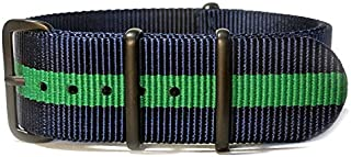 20mm Navy Blue & Green NATO strap with black PVD buckles
