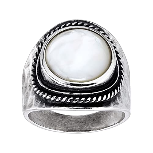 Silpada 'Pearlized' Natural Mother-of-Pearl Statement Ring in Sterling Silver, Size 9