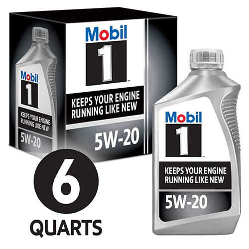 Mobil 1 Full Synthetic Motor Oil 5W-20, 6-Pack of 1 quarts