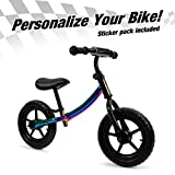 ISD Kids Balance Bike for Boys & Girls Personalizes Your Bike with Your Name, Push Bike for Toddlers, and up to Five-Year-Olds. (Neo Chrome)