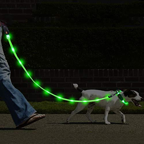 NAMSAN LED Hundeleine mit LED Hundehalsband USB Aufladbar Wasserdicht Sicherheit Hundehalsband-Leine für Hunde, 3 Leuchtmodi 20 Leuchtet (Grün)