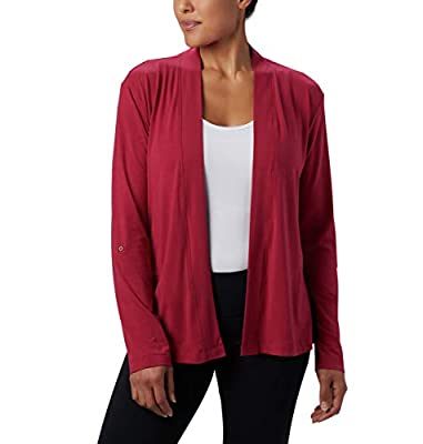 Columbia Women's Essential Elements Cardigan, Moisture Wicking, Sun Protection, red Orchid, X-Large from Columbia