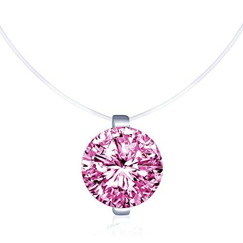Unendlich U Kreativ Solitär Kette 925 Sterling Silber Rosa Zirkonia Damen Halskette Anhänger Transparente Angelleine Nylonkette