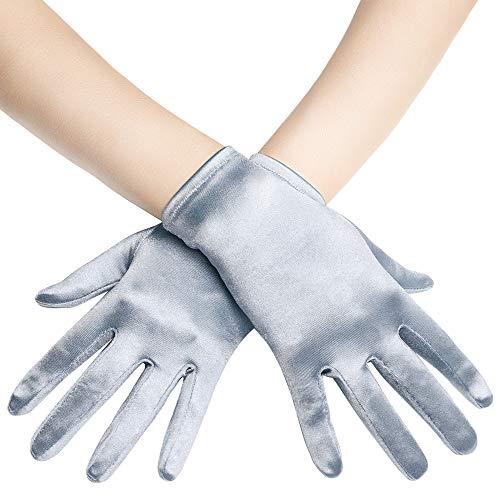 Coucoland Damen Handschuhe Satin Classic Opera Fest Party Audrey Hepburn Handschuhe 1920s Handschuhe Damen Lang Kurz Elastisch (Silber/22cm)