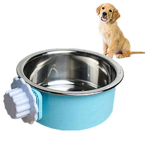 2-in-one dog water bowl cage, crate type water bowl, stainless steel pet hanging bowl, puppy crate water bowl water dispenser, used for cats and dogs and other small animals (small)