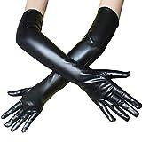 Gloves Sexy Unisex Mitaine Longue Noire Blanc Gants D'Hiver Bodysuit Pas Cher (Noir)