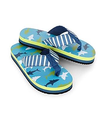 Hatley Boys' Flip Flops, White Sharks, Large (11 US Child Shoe Size)