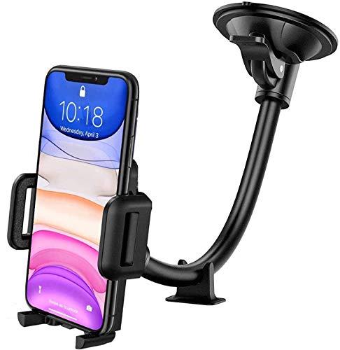 GVTECH - Supporto universale per auto per parabrezza con braccio lungo flessibile e base per cruscotto per iPhone 12 11 Pro Max Xs Max Xr X 8 7 6S, Galaxy S20/S10 Note LG