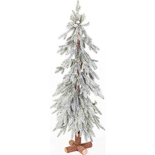 Merrily Flocked Tree with Wood Log Base, White, 36'