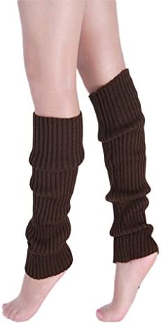 Women girls knitted Leg warmers solid color warm long boot Socks TTD005 coffee product image