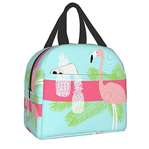 Bolsa de almuerzo reutilizable aislada, bolsa de almuerzo nevera, flamencos y piña con bolsillo frontal con cierre de cremallera para mujer, hombre, trabajo, picnic o viaje