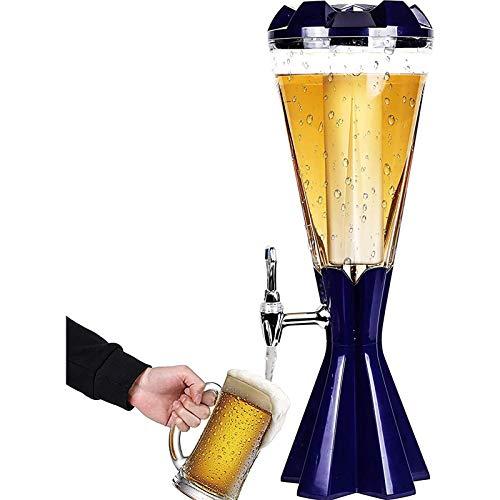 SIRUL Dispensador de Torre de Cerveza, dispensador de Bebida de Vino de Jugo Transparente de 3 l, dispensador de Cerveza para el hogar, con Luces LED y Tubo de Hielo extraíble