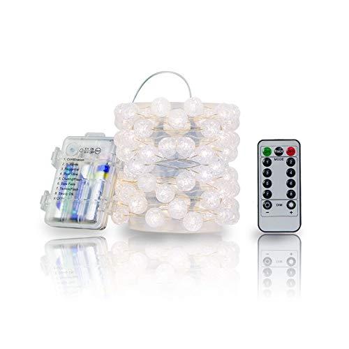 Lichterkette Batterie mit Timing-Funktion, 3 Meter 40 LEDs Beleuchtung mit Fernbedienung Warmweiß 8 Modi Silberdraht Dekoration - Kristallkugel Lichterkette Batteriebetrieb