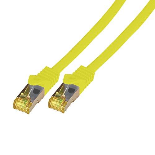 BIGtec 15m Netzwerkkabel Patchkabel CAT7 Ethernet LAN DSL Patch Kabel Gigabit gelb 2X RJ 45 Anschlus doppelt geschirmtSFTP 15 Meter