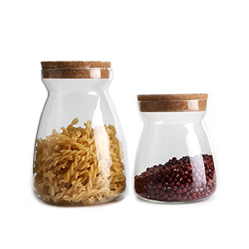 MuciHom Glass Jar with Cork Lid 25/38oz - Set of 2, BPA Free High Borosilicate Glass Food Storage Container Cookies Jar Containers with Cover