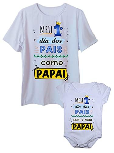 Camiseta Meu Primeiro Dia Dos Pais e Body de Bebê Tal Pai Tal Filho (Branco, adulto G - body G)