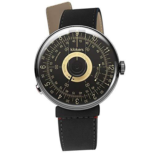 Klokers Klok 08 Reloj Unisex Negro Champagne Dial con correa de cuero negro KLOK8.D3