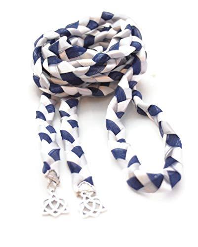Navy Oraganza Silver Celtic Heart Knot Wedding Hand Fasting/Binding Cord ~ Handfasting ~ Handbinding ~ Irish ~ Tying the Knot