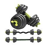 Juego de Barras y Mancuernas 4 en 1 (Peso Total 30 kg) | Fitness Musculación Entrenamiento Pesas en casa