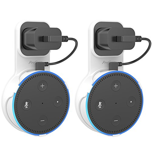 ProCase Amazon Echo Dot Wall Mount Outlet Hanger Clip for Dot 2nd Generation, No Messy Wires or Screws, Amazon Echo Dot 2nd Gen Wall Mount for Bathroom Bedroom Kitchens –White, 2 Pack