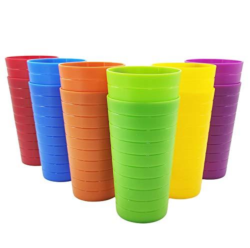 Vasos de plástico irrompibles, de 22 onzas, estilo restaurante, juego de 12 en 6 colores surtidos