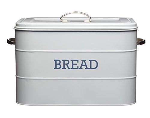 Kitchencraft Living Nostalgia Großer Brotkasten aus Metall, Küchen-Aufbewahrungsbehälter mit Deckel und Griffen, für Brotlaibe, Baguettes, Mehl, Selbstgebackenes Brot 34 x 21,5 x 25 cm – French Grey