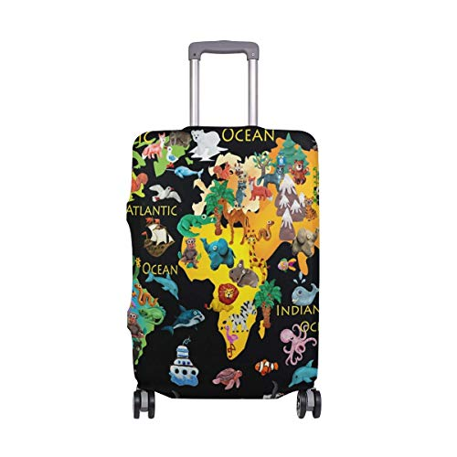Luggage Cover World Animals Map Suitcase Protector Baggage Fits 19-39 Inch,Size:XL
