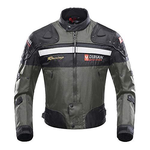 Duhan – Chaqueta de equitación cortavientos para moto, todo el cuerpo, equipo de protección, armadura otoñal, invierno, moto, ropa (gris, mediano)