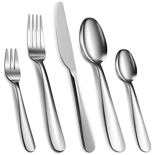 Cibeat Cubertería de 60 piezas de acero inoxidable plateado, cuchillo, tenedor y cuchara, juego de utensilios para 12, pulido de espejo y apto para lavavajillas.