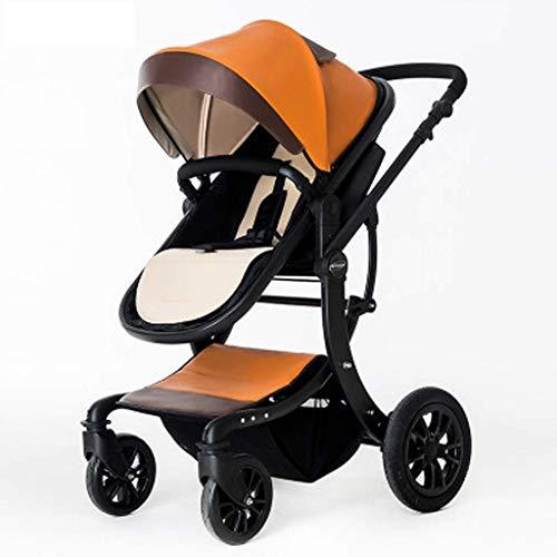 Y DWAYNE Hochlandschaftlicher Kinderwagen, Leichter und Faltbarer 2-in-1-Kinderwagen für Neugeborene und Kleinkinder, universell für Vier Jahreszeiten (Farbe: Braun)