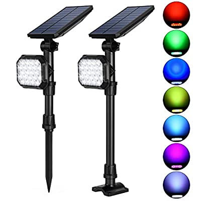 Litake 22LED Solar Lights Outdoor, 2-in-1 Adjustable Landscape Spotlights, RGB Color Changing Decorative Waterproof Wall Light Landscape Lighting, Auto On/Off for Yard Pathway Walkway Garden(7 Color)