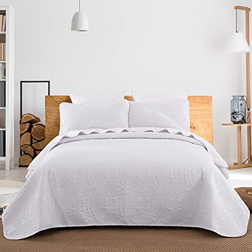 WONGS BEDDING Tagesdecke 240x260 cm Bettüberwurf Weiß Wohndecke Mikrofaser Gesteppter Bettdecke Doppelbett Stepp Decke als Schlafzimmer Steppdecke mit 2*50x70 cm Kissenbezug für Bett