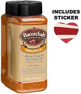 J&D's Big Pig Original Bacon Salt (Jumbo 16 Ounce Bottle + Sticker) - Low Sodium Bacon Flavored Seasoning Salt + Bacon Heart Sticker