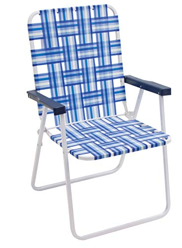 """16"""" Extended Height and Seat Back Folding Web Lawn Chair, Blue/White"""
