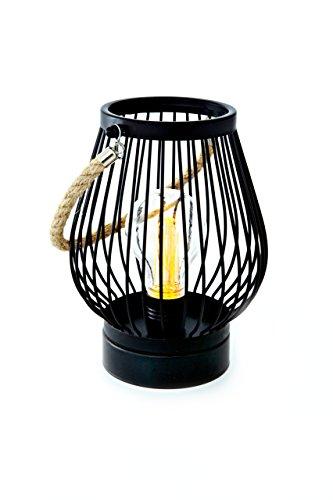 HEITMANN DECO Laterne zum Aufhängen für drinnen - Industrie-Design mit Edison Glühbirne - LED Lampe - Metall schwarz - batteriebetrieben, oval