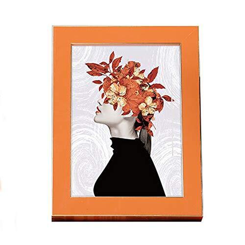 JenLn Marcos de Cuadros de Mesa Marco de Madera Creativa de la decoración de Escritorio Creativo para fotografías de Boda fotografías (Color : Orange, Size : 7 Inches)