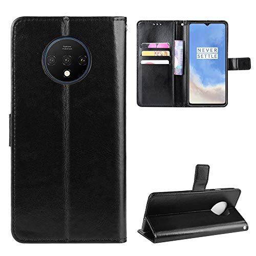 Snow Color OnePlus 7T Hülle, Premium Leder Tasche Flip Wallet Case [Standfunktion] [Kartenfächern] PU-Leder Schutzhülle Brieftasche Handyhülle für OnePlus 7T - COBYU030997 Schwarz