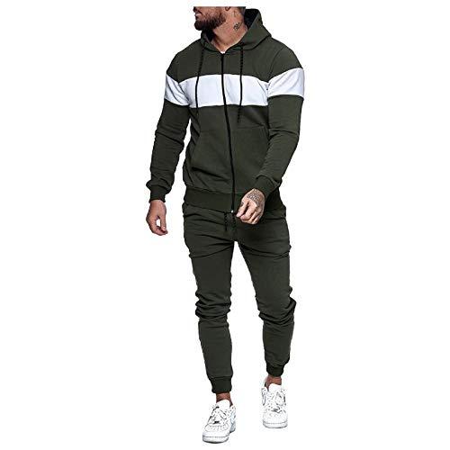 Track suits Color Block Tracksuit Sets for Men,2 Piece Hoodies Jackets Sweatpants Jogging Activewear with Pockets