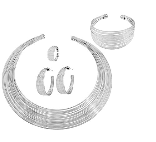 fitTek caolator TreasureBay Collana Orecchini Braccialetto Costumbre la Raya metallo stelle orecchini per donna accessori di gioielli collana + braccialetto + anello + orecchini argento