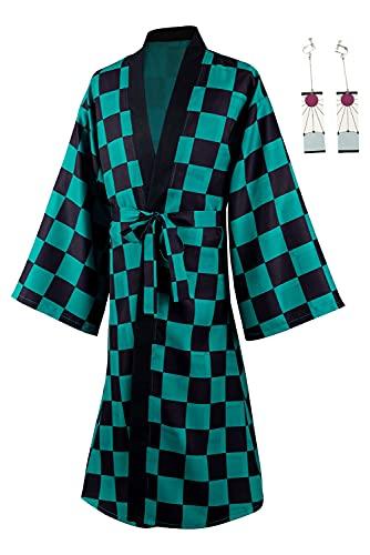 Ruleewe Demon Slayer Kamado Tanjirou Capa larga Kimetsu no Yaiba Cosplay Traje Hombres Anime Kimono Chaqueta Abrigo Pendientes Conjunto