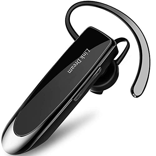 Link Dream Bluetooth Earpiece for Cell Phones Wireless V5.0 Hands Free Headset Noise Canceling Mic 24Hrs Talking 1440Hrs Standby Compatible with Mobile Phone Tablet Laptop for Work from Home Driver