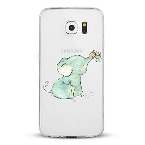 Galaxy S6 Custodia, Cover Samsung Galaxy S6 Custodia, Alsoar Elefante Ananas Fragola Ultra Slim Sottile e Anti-Graffio Antiscivolo Silicone Custodia Cover per Samsung Galaxy S6 (Elefante)