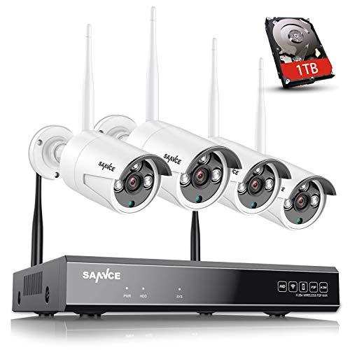 SANNCE Kit Telecamere WiFi Videosorveglianza 1080P 8 Canali NVR con 1TB Disco Rigido Installato 4 Wireless Telecamere di Sorveglianza 1080P Eseterno Visione Notturna Motion Detection P2P IP66 -1TB HDD