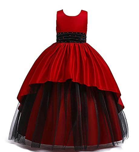WAWALI Vestido de fiesta de niña con cuentas vestido de fiesta elegante para niños vestidos para niñas princesa vestidos de boda, rosso, 4-5 Años