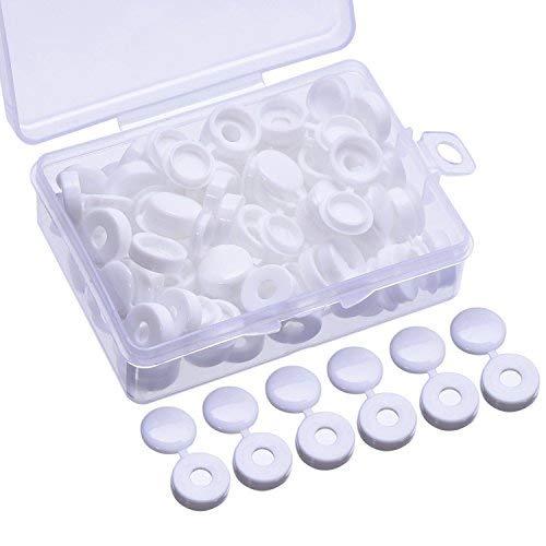 60 Piezas Tapa de Tornillo Cubierta de Tornillo de Plástico para Tornillos de Número 6 y 8 con Caja de Almacenaje, Blanco