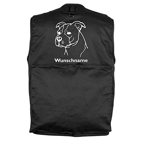 Tierisch-tolle Geschenke American Staffordshire Terrier - Hundesportweste mit Rückentasche und Namen M