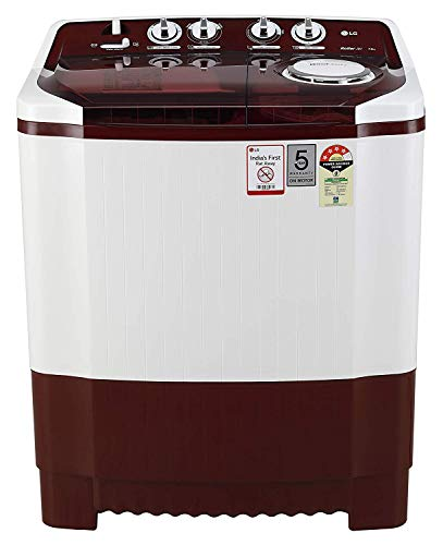 LG 7 kg 4 Star Semi-Automatic Top Loading Washing Machine (P7015SRAY, Burgundy)